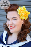Louella DeVille Handmade Double Roses Yellow