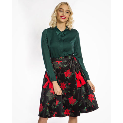 Lindy Bop Lovi Mid Century Pocketed Swing Skirt with Poinsettia Print