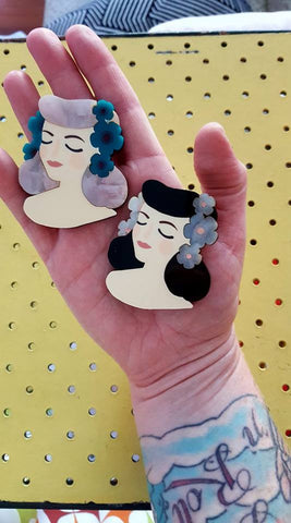 Louella DeVille Handmade Lady Lucille PinUp Brooch (Various Colours!)