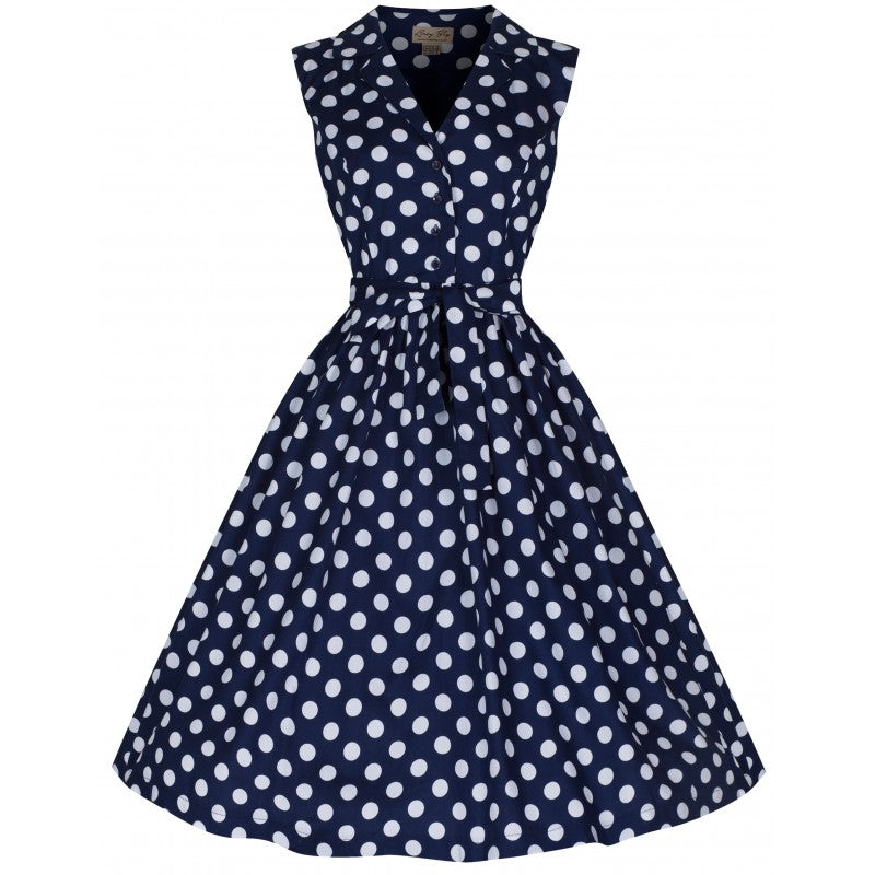 Lindy Bop Matilda Navy Polka Dot Shirt Dress