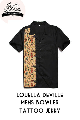Louella DeVille Mens Bowler Shirt Tattoo Jerry