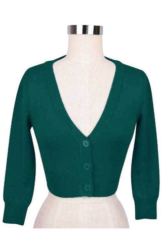 Peggy Sue Cropped PinUp Cardigan Bright Green