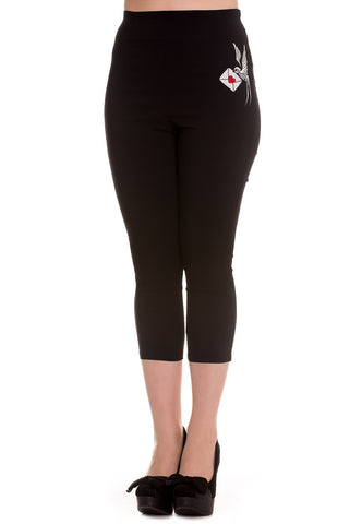 Hell Bunny Black Swallow Sadie Capris