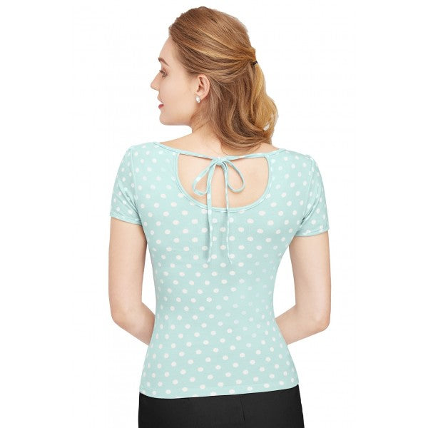 Dolly & Dotty Gina Pastel Blue Cut Out Top