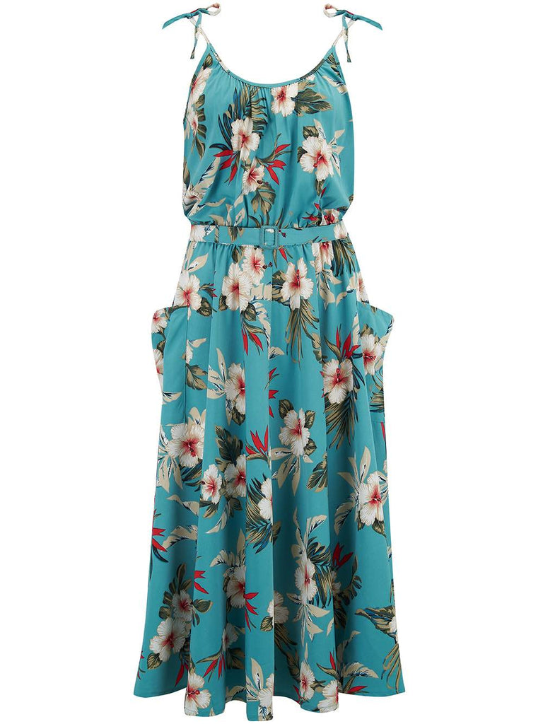 RocknRomance Suzy Sun Dress Teal Hawaiian