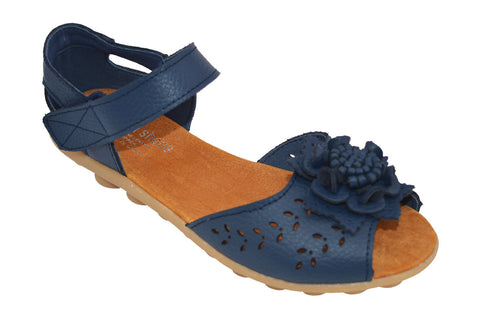 1940s Leather Virginia Sandals Navy