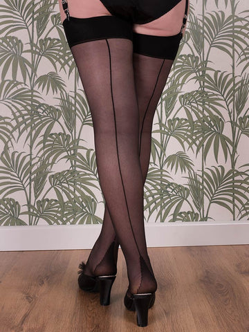 What Katie Did Seamed Stockings Black Glamour H2044