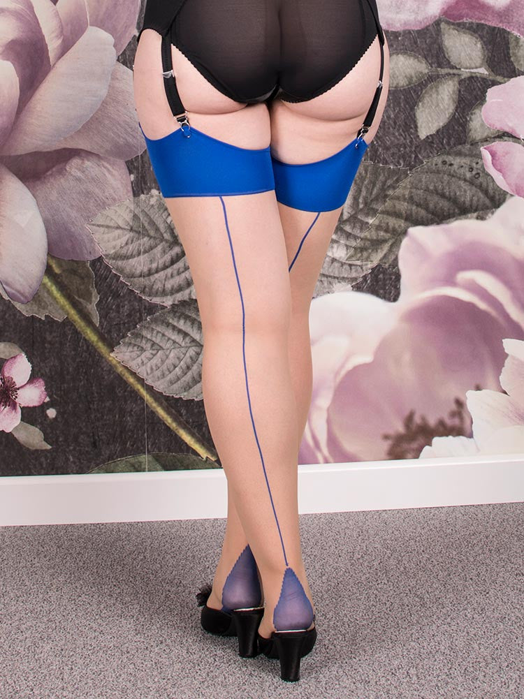 What Katie Did Seamed Stockings Blue Glamour H2036