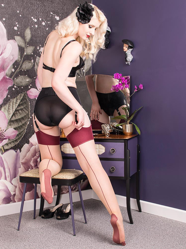What Katie Did Seamed Stockings Claret Glamour H2037