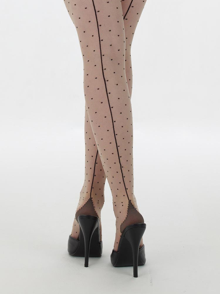 What Katie Did H2023 Retro Seamed Dot Tights