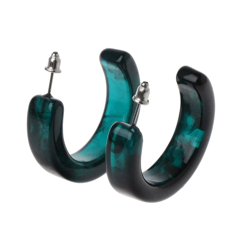 Slay All Day Turquoise Marble Hoops