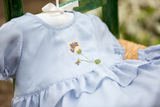 Petite Ruffle Dress with Flower, Cornflower Blue