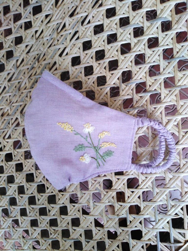 """Be Safe. Be Kind"" Hand Embroidered Heirloom Mask - Fall Goldenrod, Mauve Organic"