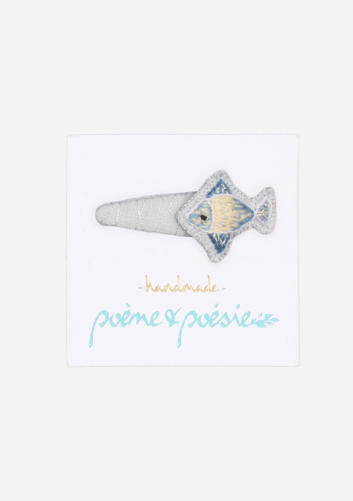 Handmade Barrette with Fish Charm, Sky Blue