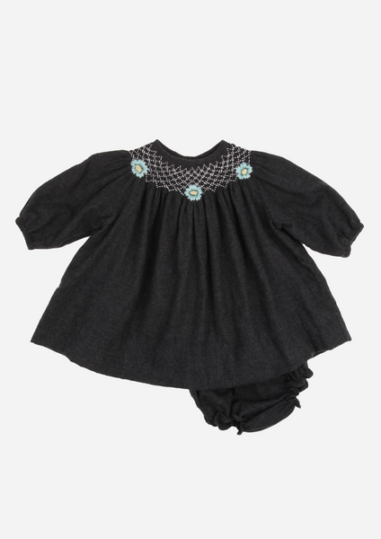 Smocked Heirloom Dress with Flowers, Anthracite