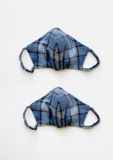 """Be Safe. Be Kind"" Printed Heirloom Mask - Blue & Grey Plaid, Organic"