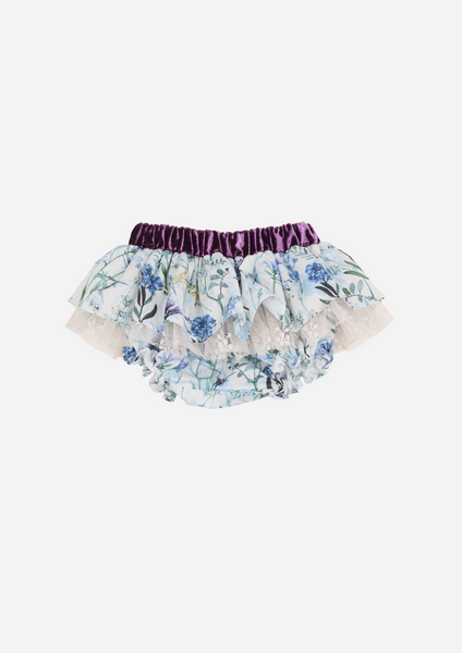 Floral Ruffle Bottom With Tulle Lace, Blue