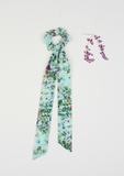 Heirloom Ribbon Scrunchie, Botanical Garden, Mint