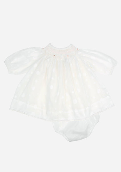 Smocked Circles Dress, White