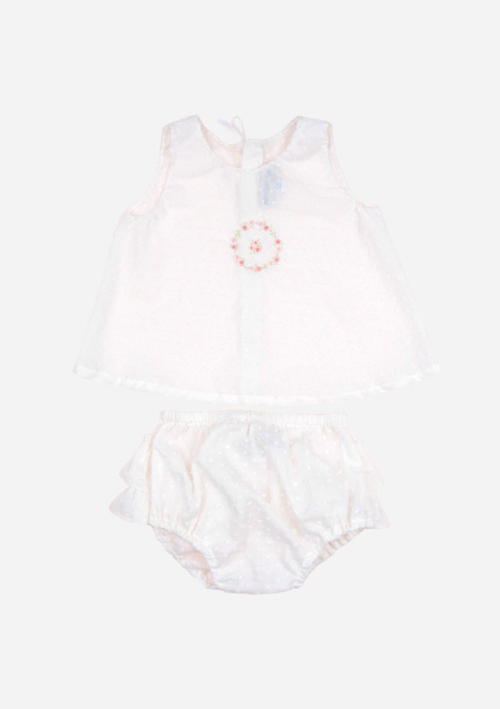 Rose Wreath Top & Ruffle Bottom, Cream