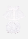 Flutter Sleeve Top & Bloomer with Lace, White