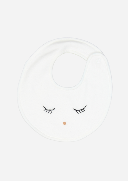Sleepy Eyes & Button Nose Bib, Ivory