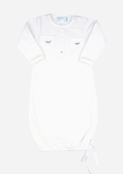Sleepy Eyes & Button Nose Baby Gown, Ivory
