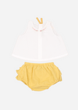 Rose Necklace Top & Ruffle Bottom, Ivory and Canary Yellow