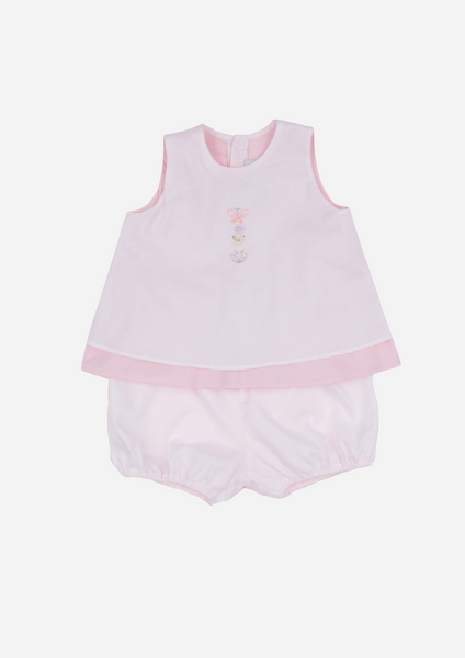 Butterfly and Flower Embroidered Top and Bloomer, Blush & Mauve