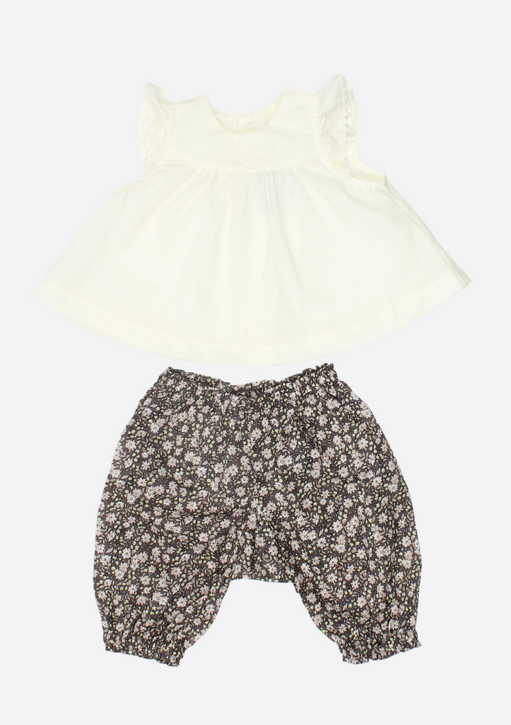 Flutter Sleeve Top With Lace Flowers and Floral Pants, Butter Yellow and Chocolate Floral