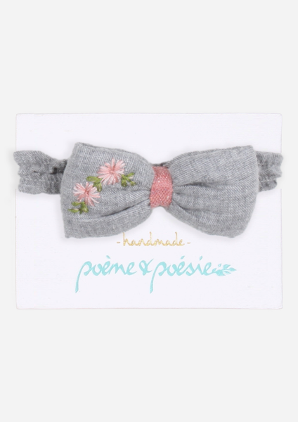 Handmade Headband with Flowers, Slate