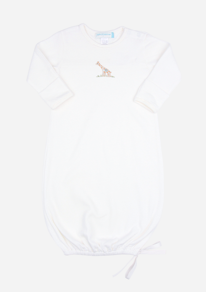 Big Heart Giraffe Baby Gown, Ivory