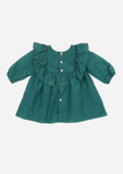 Rose Bud Embroidered Ruffle Dress, Jade