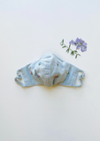 """Be Safe. Be Kind"" Hand Embroidered Heirloom Mask - Scattered Roses, Grey Blue"
