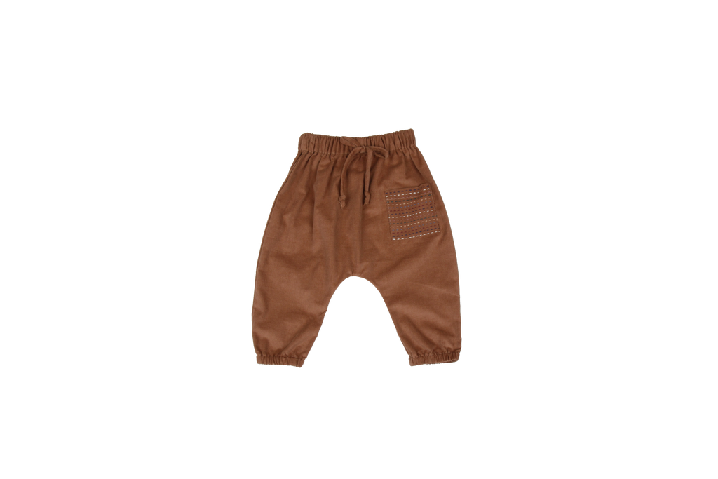 Corduroy Trousers with Hand-Stitched Pocket, Camel