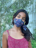 """Be Safe. Be Kind"" Printed Heirloom Mask, Adjustable - Botanical Garden, Navy"