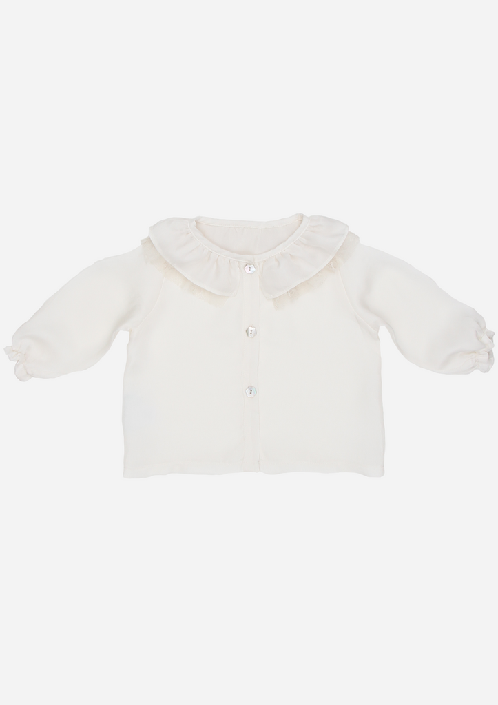 Heirloom Blouse with Tulle Lace Ruffle Collar, Ivory