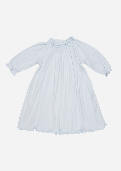 Long Sleeve Smocked Rib Day Gown, Sky Blue