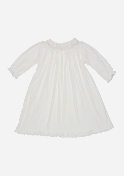 Long Sleeve Smocked Rib Day Gown, White