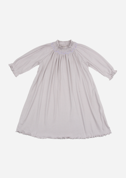 Long Sleeve Smocked Rib Day Gown, Slate