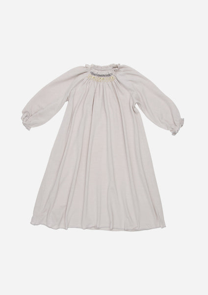 Three-Quarter Sleeve Hand Smocked Jersey Day Gown, Stone