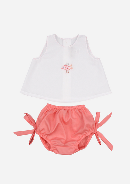 Bird Embroidered Top and Bloomer, White & Coral