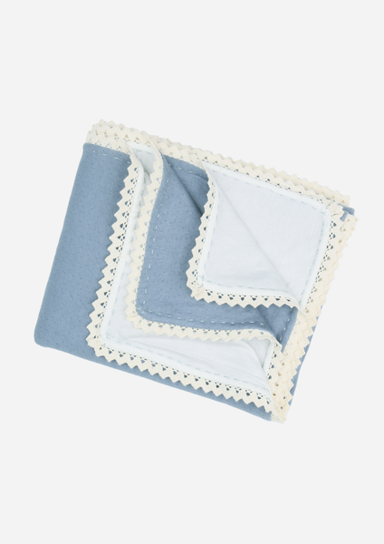 Modern Heirloom Blanket, Denim Blue with Ecru Lace