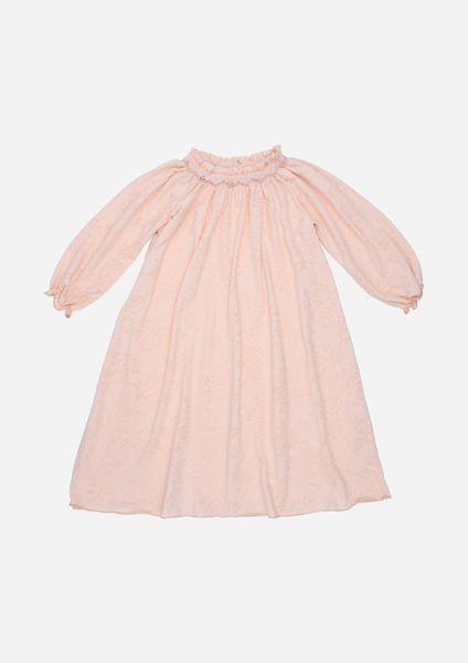 Long Sleeve Smocked Pointelle Day Dress, Vintage Peach