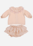 Heirloom Blouse with Ruffle Collar & Tulle Lace, Peach