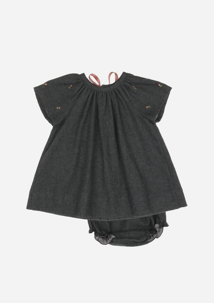Rose Buds Heirloom Dress, Anthracite