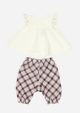 Flutter Sleeve Rose Bud Top & Pants, Butter and Checks