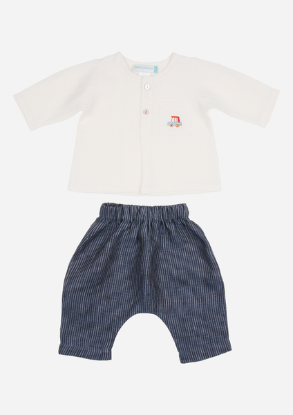 Car Top & Pants, White & Navy Stripe