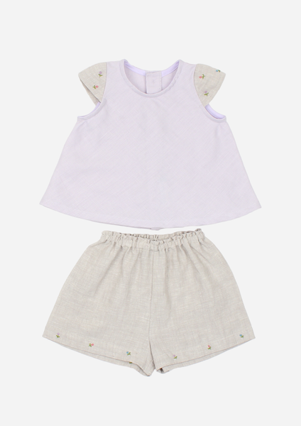 Cap Sleeve Rose Bud Top & Shorts, Lavender & Grey