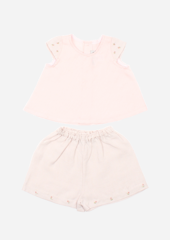 Cap Sleeve Rose Bud Top & Shorts, Blush & Sterling Grey